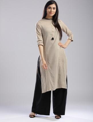 W Beige color plain kurti