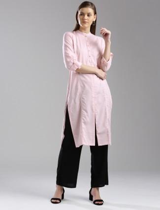 W cotton plain light pink kurti