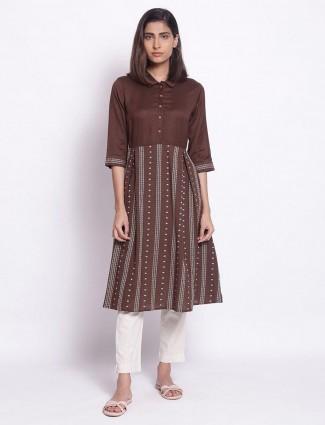 W latest printed casual wear brown kurti in cotton