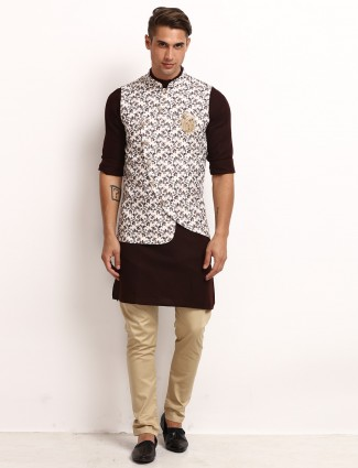 Waistcoat and churidar set in printed brown for party