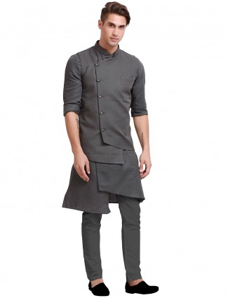 Waistcoat set for mens in cotton grey