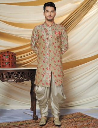 Wedding exclusive cotton silk green indo western