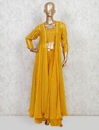 Wedding mustard georgette sharara salwar suit