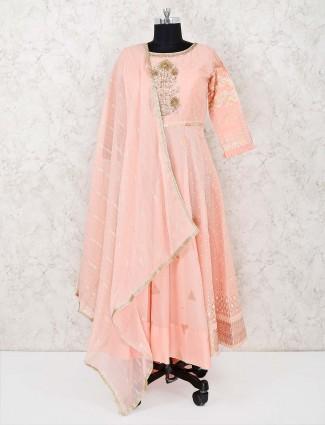 Wedding peach cotton silk full sleeves palazzo suit