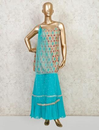 Wedding wear aqua color sharara suit in silk