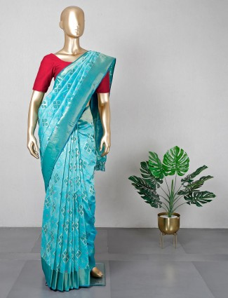 Wedding wear aqua colour silk saree