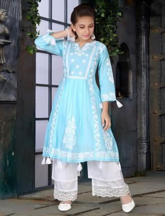 Wedding wear aqua hue cotton suit