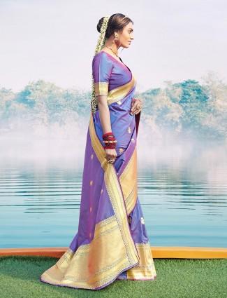 Wedding wear banarasi silk saree in violet