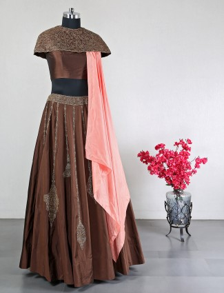 Wedding wear brown raw silk lehenga choli