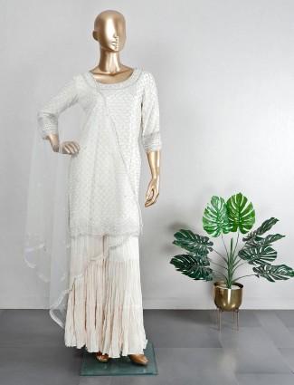 Wedding wear cream coton silk sharara suit