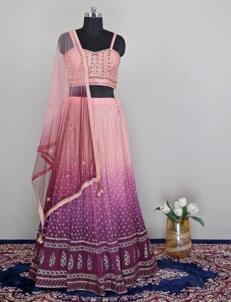 Wedding wear designer lehenga in pink ombre shade