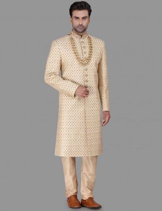 Wedding wear gold sherwani in raw silk