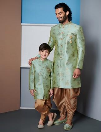 Wedding wear green raw silk father and son indo western