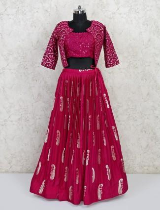 Wedding wear magenta lehenga choli in georgette