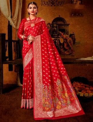 Wedding wear maroon banarasi silk saree