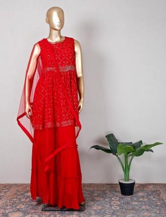 Wedding wear maroon cotton silk sharara suit