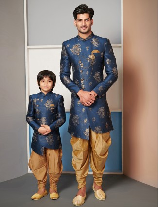 Wedding wear navy father and son indo western