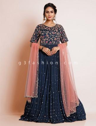 Wedding wear navy gown with zari details