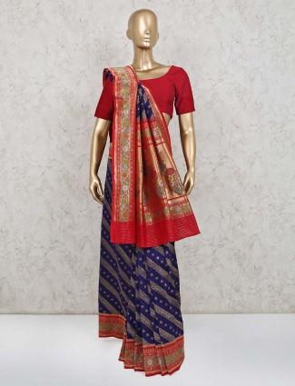 Wedding wear orange banarasi silk saree for wedding