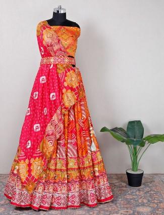 Wedding wear orange cotton silk unstitched lehenga choli