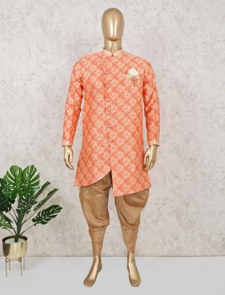 Wedding wear orange terry rayon indo western