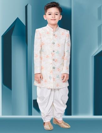 Wedding wear peach silk fabric boys indo western
