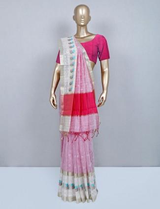 Wedding wear pink cotton saree