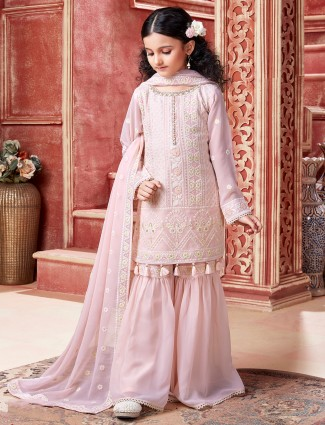Wedding wear pink sharara suit for girl