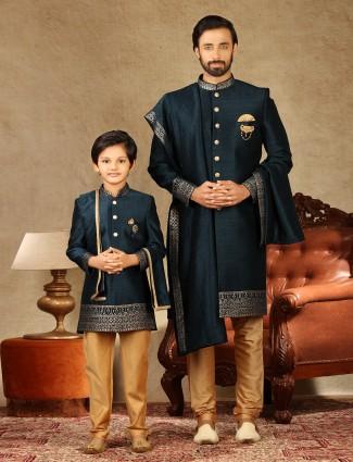 Wedding wear rama green raw silk father and son matching indo western