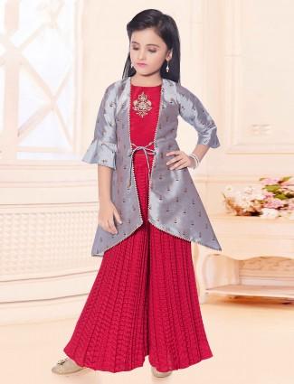 Wedding wear red raw silk palazzo suit