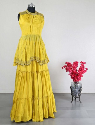 Wedding wear yellow georgette sharara suit