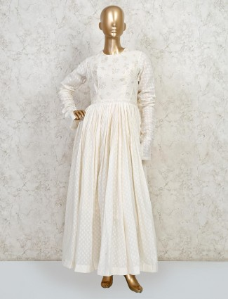 White anarkali suit with palazzo pant in cotton
