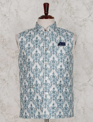 White and green terry rayon printed waistcoat