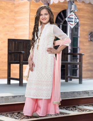 White and peach georgette Palazzo Suit