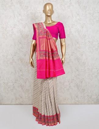 White banarasi silk wedding wear saree
