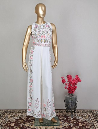 White charming jumpsuit in raw silk for wedding occasion