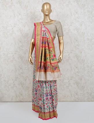 White colored banarasi silk saree