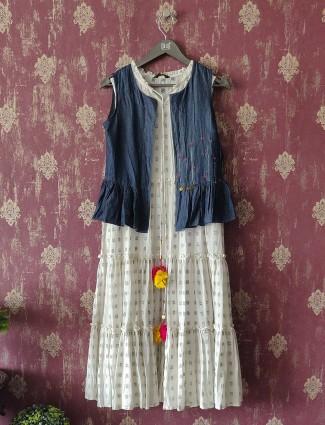 White Cotton Panelled Kurti dress with Short Jacket