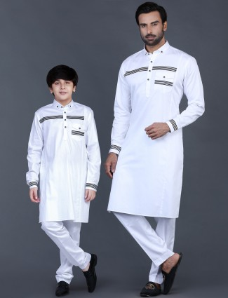 White cotton solid father and son pathani suit