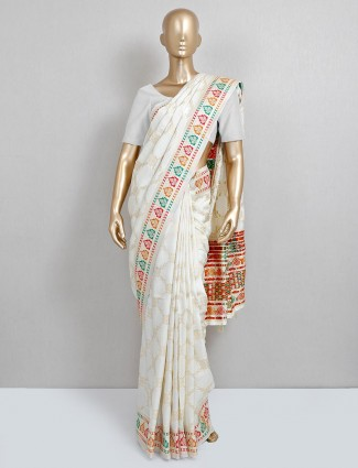 White dola silk saree for wedding occasion