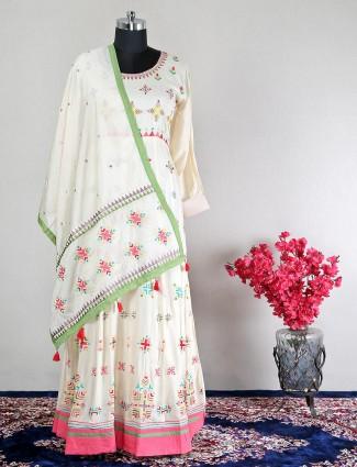White floor length suit for women in cotton