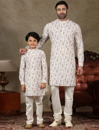 White full sleeve cotton father and son kurta suit