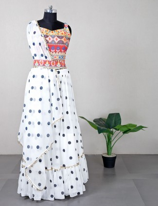White georgette lehenga choli for party occasions