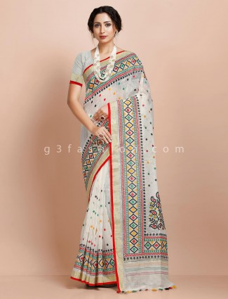 White khadi cotton dora work designer saree