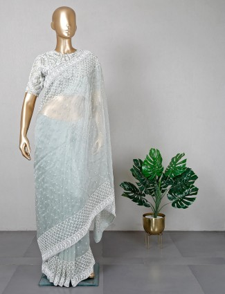 White organza tissue festive wear saree