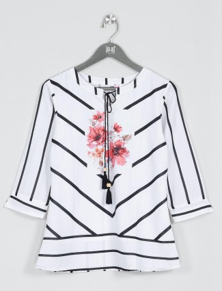 White printed cotton casual top for women