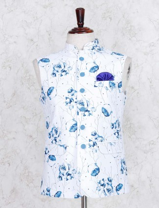 White printed terry rayon party wear waistcoat