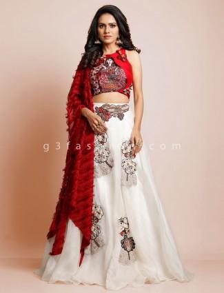 White raw silk wedding wear designer lehenga choli