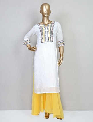 White silk casual wear palazzo suit
