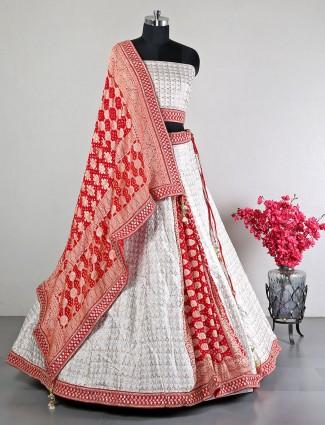 White silk lehenga choli for women